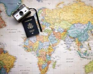 Map with camera and passport.