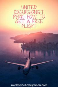United Excursionist Perk article. Plane departing from city in sunset.
