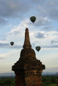 Hot air balloons over Bagan temple