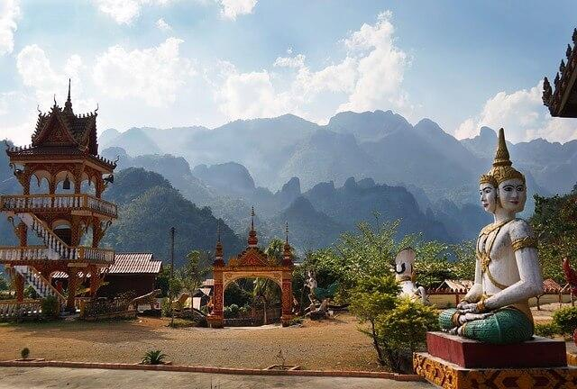 Temples and statues in Laos