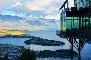 Hotel overlooking lake in New Zealand
