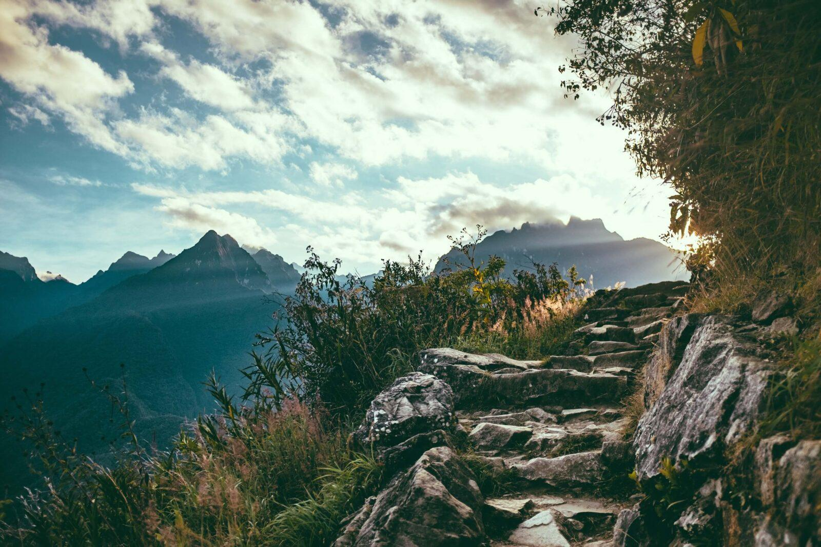Hiking up stairs in Peru mountains.