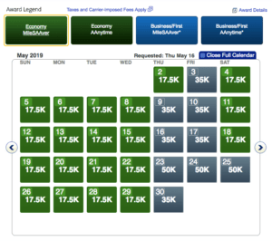 American Airlines Award Availability calendar