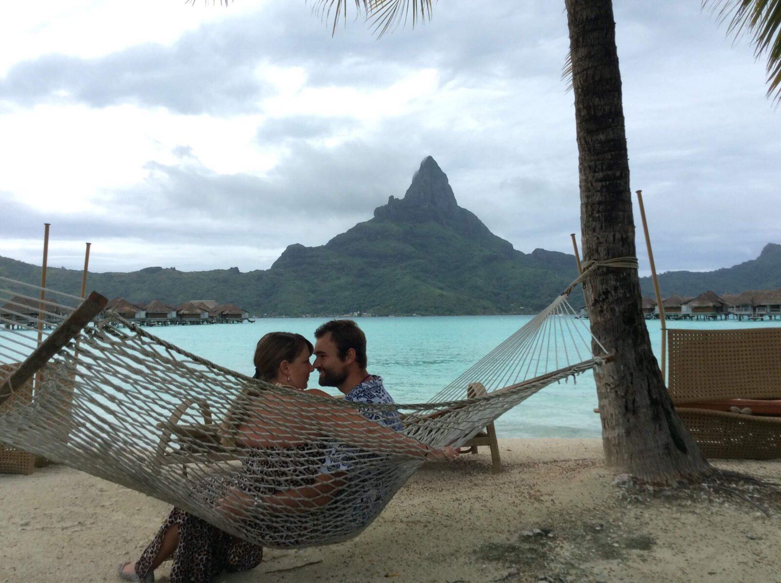 Bora Bora beachfront hammock