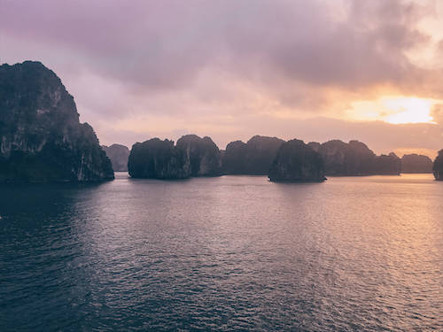 Bai Tu Long Bay Sunset during our 3-week Southeast Asia itinerary