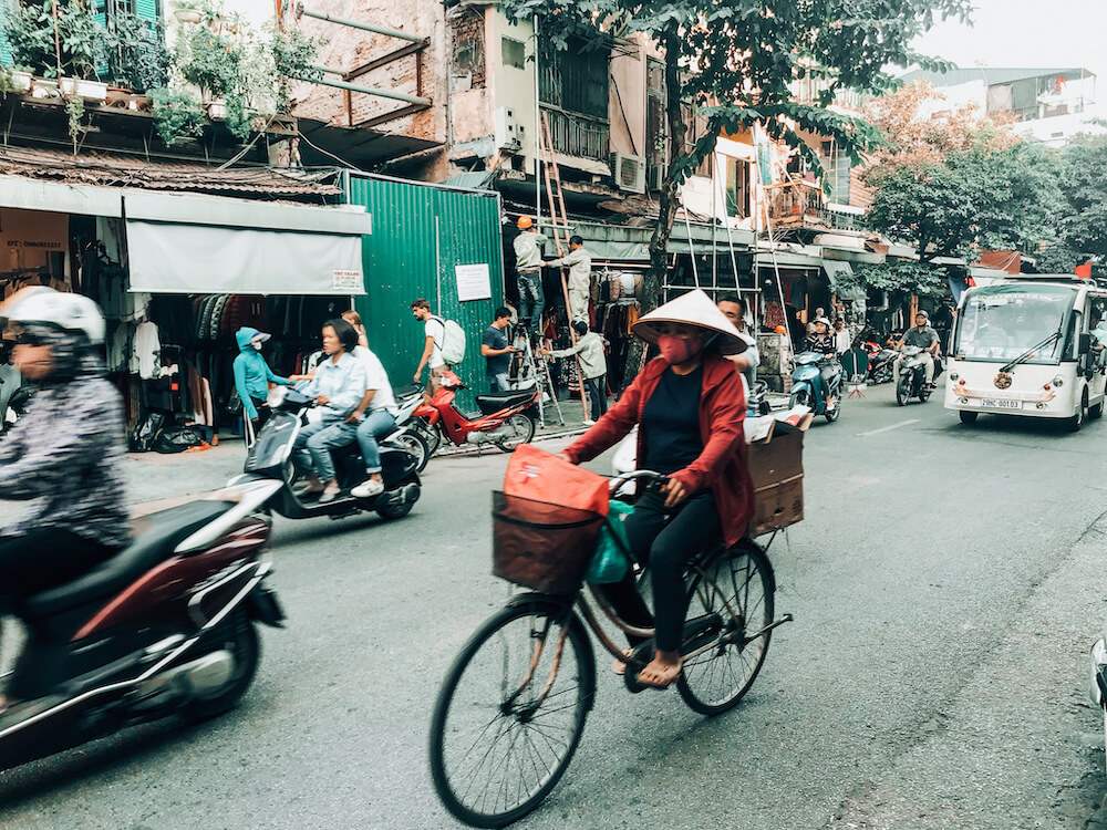 Bikes and Scooters crossing in Hanoi