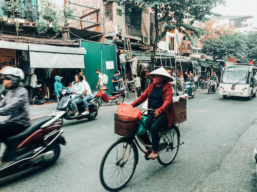 Hanoi Street in Old Quarter during 3 weeks in Southeast Asia