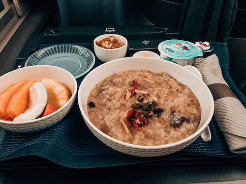 Congee with United Polaris business class