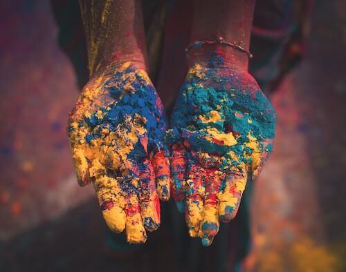 Holi celebrations and colorful soil