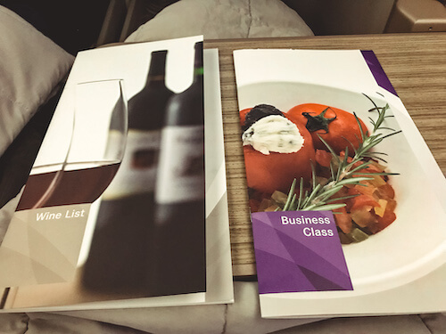 Wine and Food Menus Business Class