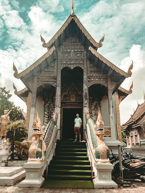 Chris outside temple in Old City, Chiang Mai