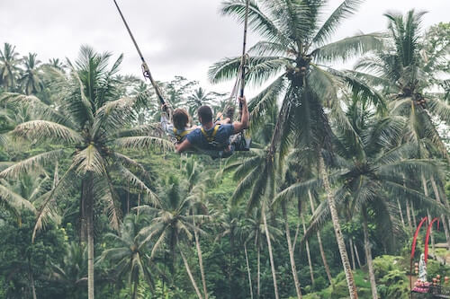 Couple swinging Bali