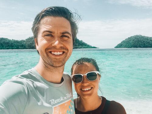Kat & Chris on the beach in Thailand
