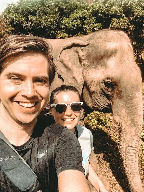 Kat, Chris selfie with elephant