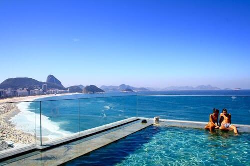 couple poolside in Brazil