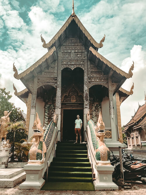 Chris in front of Old City Chiang Mai temple