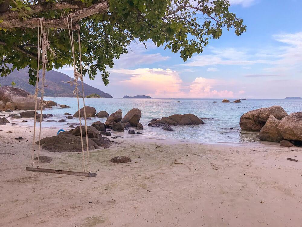 Early evening with swing and beach on Sunrise Beach, Koh Lipe