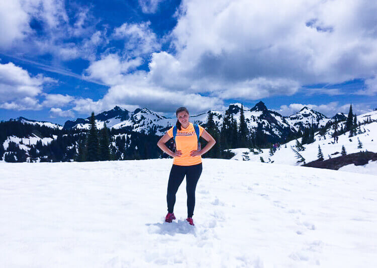 Kat climbing a mountain
