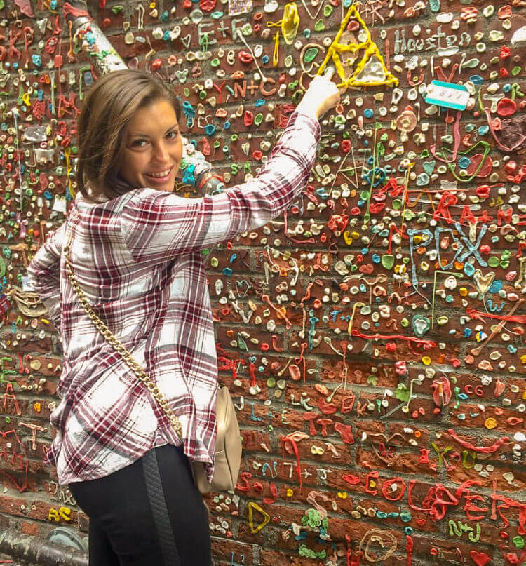 Kat in Seattle at the Gum Wall
