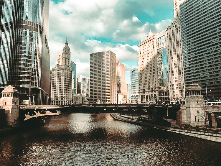 Skyline over the Chicago River