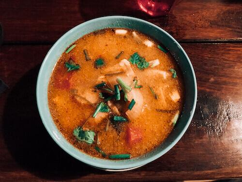 Tom yum soup at Sunrise Beach restaurant