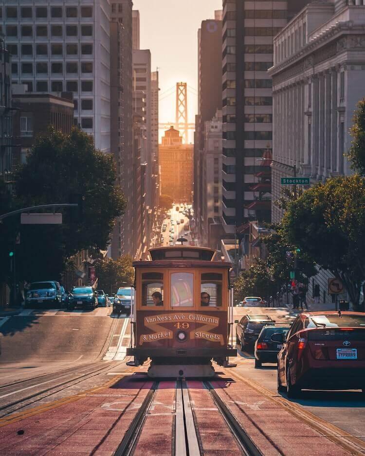 Trolley ride through downtown San Francisco, California
