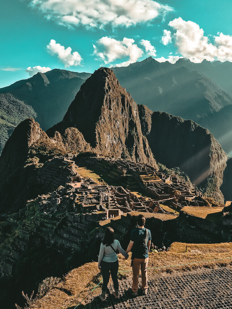 Kat and Chris overlooking Machu PIcchu, Peru - Peru itinerary