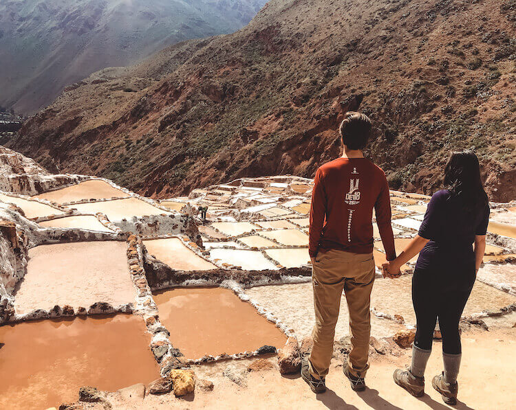 Kat and Chris overlooking the Maras Salt Mine in Peru - 10-day Peru itinerary