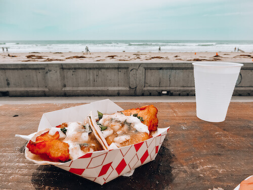 Tacos El Gordo Fish tacos while overlooking Pacific Beach, San Diego