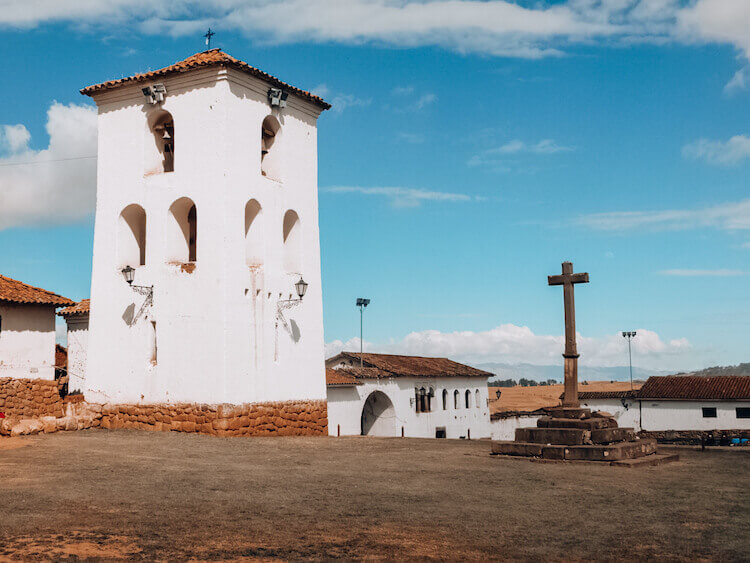 The cathedral and cross in Chinchero