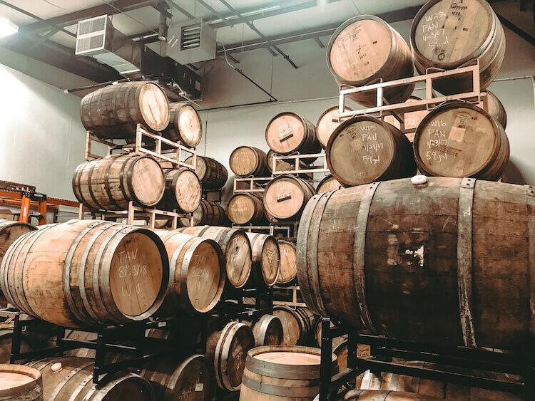 Foundation Brewing Company Barrel aged room