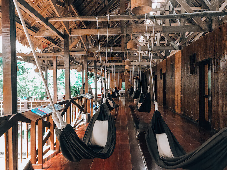 Hammocks in the common area of the Tambopata Research Center