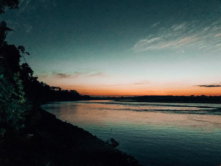 Sunrise along the Tambopata River
