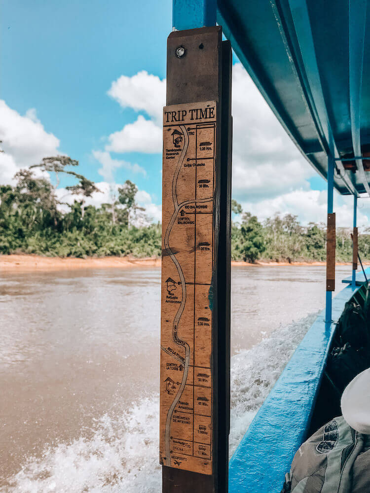 Trip Time map on the boat going to Tambopata Research Center