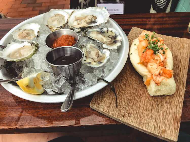 oysters and brown butter lobster roll at Eventide Oyster Co - Best lobster in Portland Maine