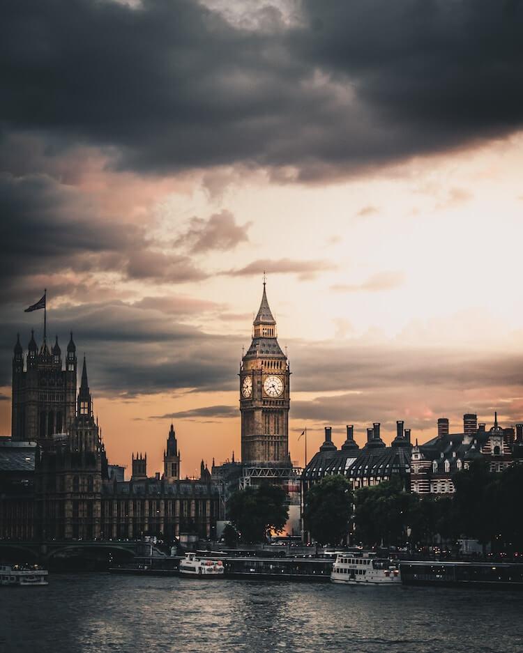 Big Ben around dusk