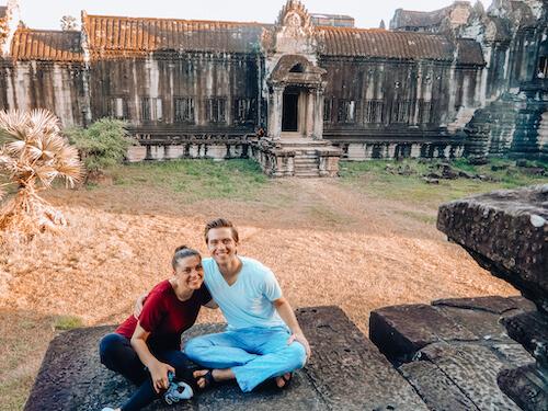 Kat & Chris inside Angkor Wat: Angkor Wat Itinerary 2 Days