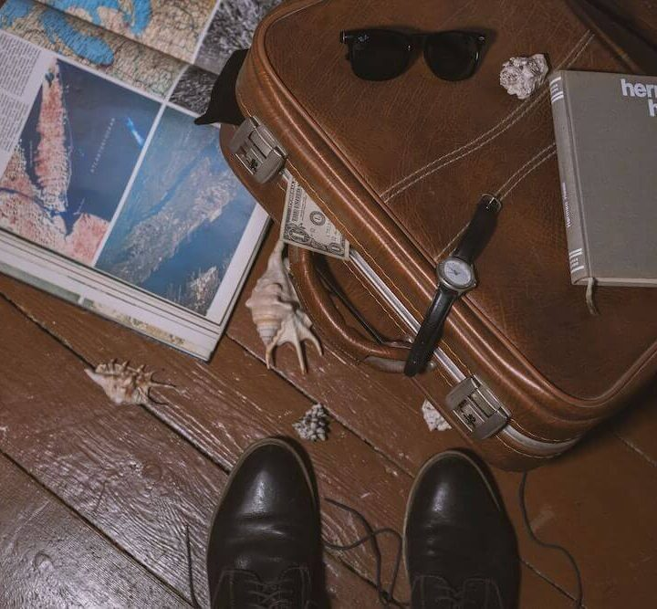 Book, atlas, and briefcase for travel