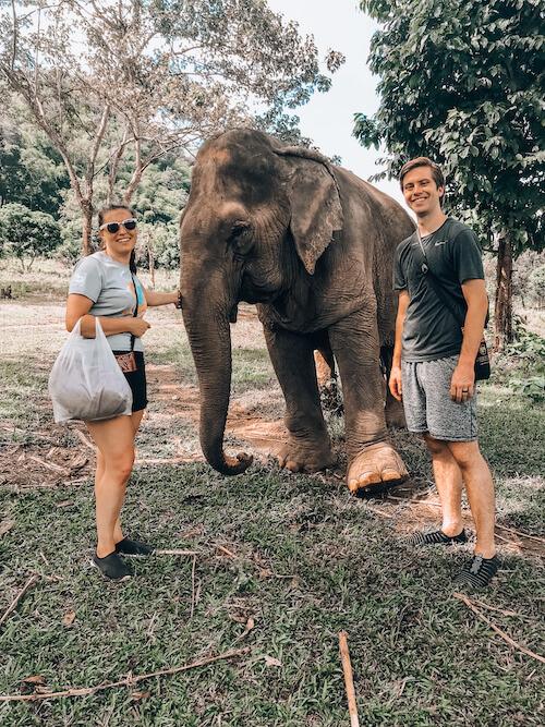 Kat, Chris, and elephant at Elephant Nature Park