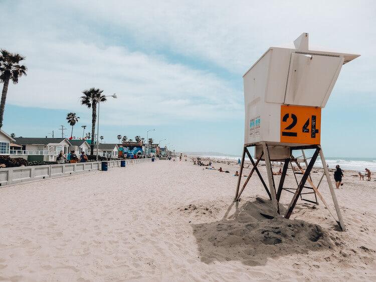 Lifeguard stand on beach, Pacific Beach, San Diego