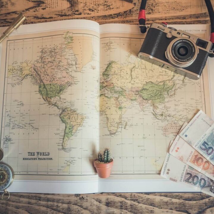 Map, compass, cash, and a camera