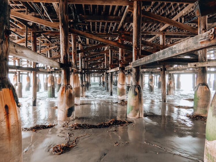 Under the Pacific Beach Pier in San Diego, California