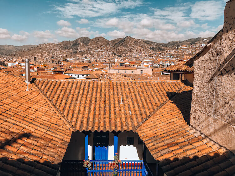 Views of the Sacred Valley and Cusco from the balcony at Rumi Wasi - Peru itinerary