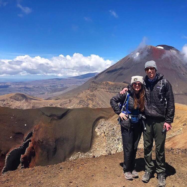 Christine & Steve hiking at Tongariro Crossing