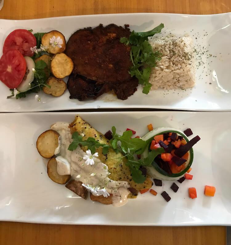Eggplant parmesan and veggie enchalada at Chia Vegan in Cusco