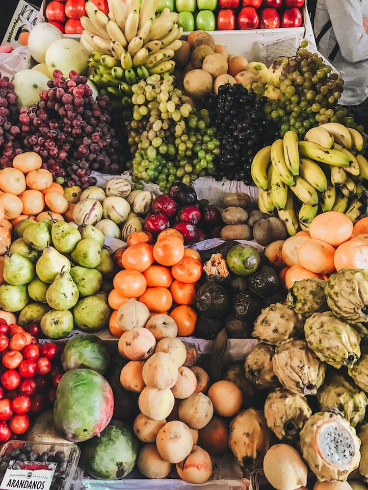 Fruits stacked up at San Pedro Market