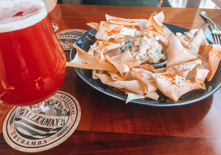 Hanz Craft Beer Restaurant chips and red ale