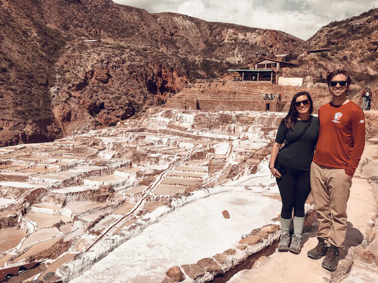 Kat & Chris at the Maras Salt Mines in the Sacred Valley, Peru
