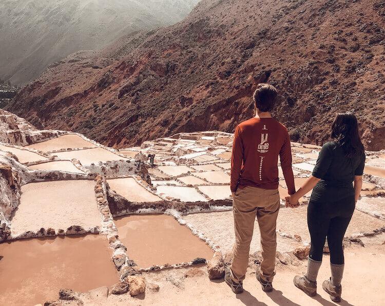 Kat & Chris looking at the salt pools at Maras Salt Mines