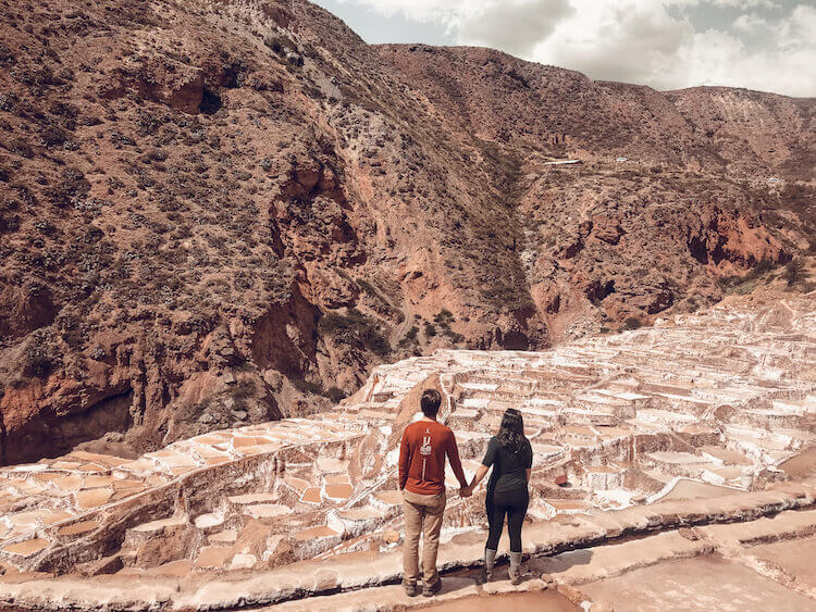 Kat & Chris looking out over the salt mines in the Sacred Valley Peru